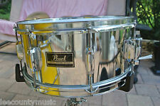 """PEARL EXPORT SERIES 6.5"""" DEEP CHROME SNARE DRUM - SET UP w/NEW EVANS HEAD! #J538"""