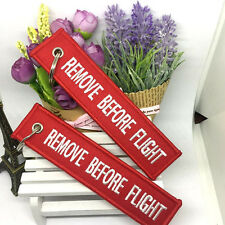 Red Embroidered Remove Before Flight Keyring Luggage Tag Label Keychain Decor