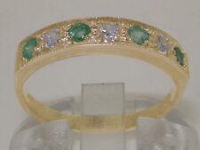 Emerald Anniversary Round Yellow Gold Fine Rings