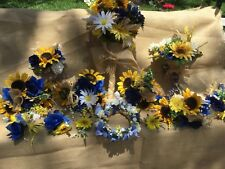 Wedding flowers bridal bouquets decorations sunflowers NaVy blue royal 28 pc