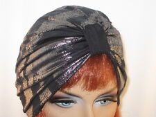 "Chemo Turban Sparkle  Silver Black Zebra ""Something4you"" Hat Hairloss Alopecia"