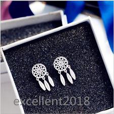 925 Sterling Silver Jewelry Elegant Zircon Net Tassel Ear Stud Earrings For Girl