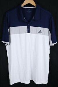 Adidas Climalite Blocked Polo Golf Shirt Mens sz XL Blue Grey White