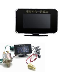 4 IN 1 Car Truck LCD Digital Water Temperature+Oil Pressure+Fuel+Voltage Gauge