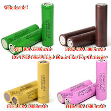 LG 18650 Flat Top 1500mAh~3500mAh 10A~30A Rechargeable 3.7V Battery Wholesale