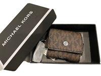 Michael Kors Unisex Airpod Earbud Case on Key Fob Brown Signature MK Gift Box