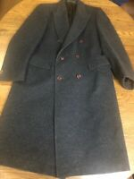 Lord And Taylor Mens Wool Coat Size 42 Reg Gray Double Breasted Dress Overcoat