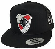 RIVER PLATE SOCCER HAT 2 LOGOS ARGENTINA HAT BLACK MESH