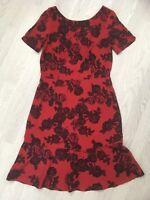 NEXT TALL 1940'S STYLE DRESS RED ROSE PRINT UK 12 FEMININE E1