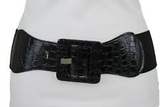 New Women Black Faux Leather Elastic Wide Belt Hip High Waist Band Size XS S M