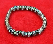 New Metal Silver Disc With Crystal Spacer And Crystal Glass Bead Stretch