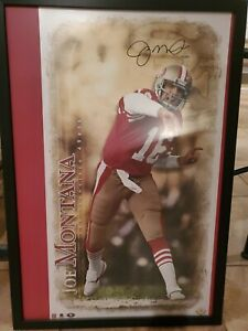 "JOE MONTANA AUTOGRAPH ""BREAKING THROUGH"" PHOTO Print Uda Upper Deck 49ers signed"
