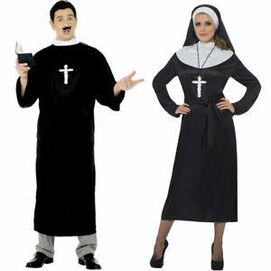 Vicar Priest Nun Religious Couples Fancy Dress Costumes