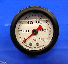 "Marshall Gauge 0-100  PSI Fuel Oil Gas Pressure White Black Casing 1.5"" Liquid"