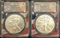2 BEAUTIFUL SILVER EAGLES, 2019 MS70 & 2020 MS70 Both First Day of Issue,,,,,,,,