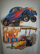 POWER UP HOT ROD t-shirt DRAG RACE DRAGSTER NHRA LARGE L  BRISCO