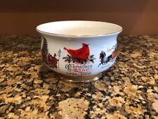 Wysocki 1999-2000 Christmas Love Sleigh Ride Caroling Bowl Gold Trim