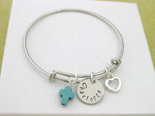 Bangle Bracelet Personalised Hand Stamped Name Turquoise Cross Heart Gift