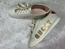 Gucci Womens Falacer Guccy SEGA Logo Sneaker Size 38 7.5 Ivory Gold Stars