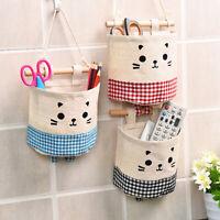 CW_ Cotton Linen Wall Wardrobe Hanging Sundries Storage Bag Organizer Pouch 5 Si