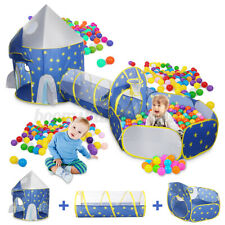 3-IN-1 Foldable Kid Play Pit Crawling Tunnel Rocket Ball Pool Tent Playhouse AU