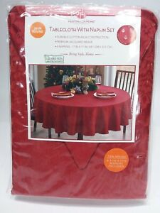 """Tablecloth with Napkins Set Huntington Home 70"""" round red"""