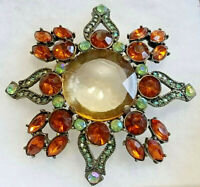 "VINTAGE ART DECO BROOCH Gold &Green RHINESTONES XL 3"" PIN -XL 1"" Dia Glass Stone"