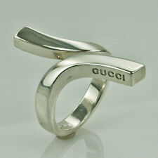 GUCCI STERLING SILVER TWIST RING size 7.5  made in Italy