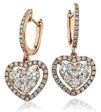 Diamond Heart Halo Drop Earrings 1.40ct F VS in 18ct Rose Gold