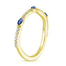 0.25 Ct Natural Diamond Blue Sapphire Engagement Ring 14K Solid Yellow Gold Band