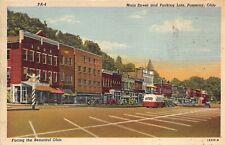 Pomeroy Ohio 1950s Postcard Main Street & Parking Lots Bus IOOF Stores