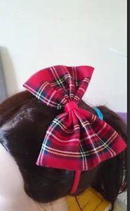 Large Red Tartan Fabric Bow Hair Band Headband Aliceband Girls