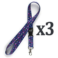 Pack of 3 Rolseley Multicolour Lanyards Neck Straps with Bunny Pattern
