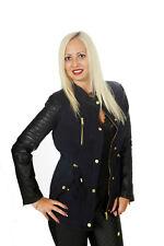 Damen Jacke Trench blau schwarz L 40 Trenchoat Kunstleder