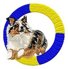"Australian Shepherd, Aussie, Jumping Agility Dog, Embroidered Patch 3.7"" Tall"