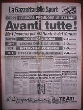 LA GAZZETTA DELLO SPORT 29/9/1983  Goteborg 2  Roma 1  Coppa dei Campioni