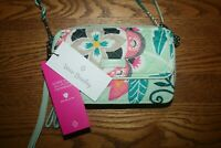 Vera Bradley Iconic RFID All In One Crossbody Mint Flowers green pink wallet NEW
