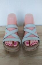 Crocs A Leigh Women's 6 Beige Leather Strappy Cork Wedge Slip On Sandals Shoes