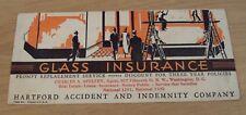 """VTG 1920's ADVERTISING 'Ink Blotter' """"HARTFORD GLASS INSURANCE"""" Nice GRAPHICS~"""