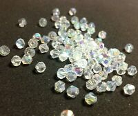 100pcs White Clear Shimmer 4mm Bicone Crystals Spacer Beads DIY Craft Wedding