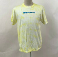 Odd Future Men's T-Shirt Embroidery Yellow Bleach/Tie Dye Size L NEW Dot Donut