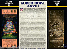 Super Bowl XXVIII 28 Gold Replica Ticket Sealed in 9x12 Card Cowboys vs Bills
