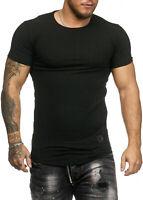 Herren T-Shirt Rundhals Shirt Slim Fit Schwarz Grau Khaki feinripp John Kayna