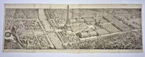 PARIS EIFFEL TOWER FRANCE 1889 LARGE ANTIQUE VIEW EXPOSITION UNIVERSELLE