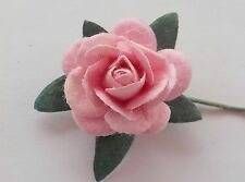 100 Lovely Handmade Mulberry Paper Roses - 15mm - Pale Pink Rose Embellishments!