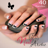 40 x Nail Art Water Transfers Stickers Wraps Decals  Black Butterfly Singl