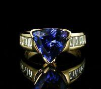 2.25Ct Trillion Cut Tanzanite Wedding Anniversary Ring in 14K Yellow Gold Finish