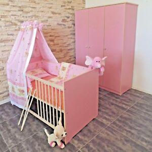 Babyzimmer Komplett Set Babybett 5Farben Umbaubar Schrank Matratze  ROSA weiß
