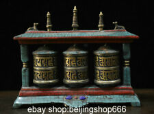 "7.2"" Old Tibet Bronze Turquoise Buddhism Temple lection Deer Beast Prayer wheel"