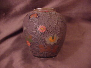 """JAPANESE 19TH C TREE BARK CLOISONNE VASE, 4-1/4"""" TALL,SUBDUED COLOR, EXCELLENT"""